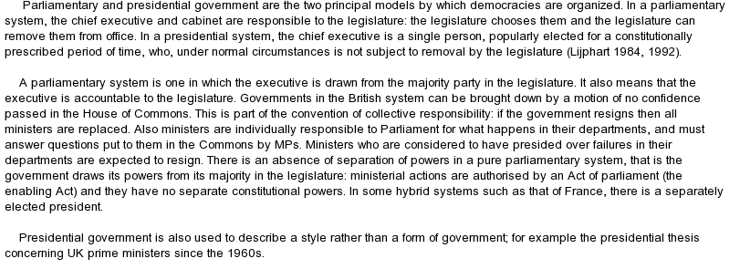 Presidential and parliamentary systems essays on global warming
