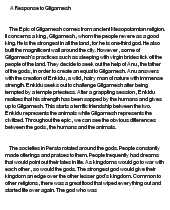 critical essay on the epic of gilgamesh View essay - critical essay meaning of life from engl critical essay meaning of life the writers of the epic of gilgamesh was of the mindset that men and.