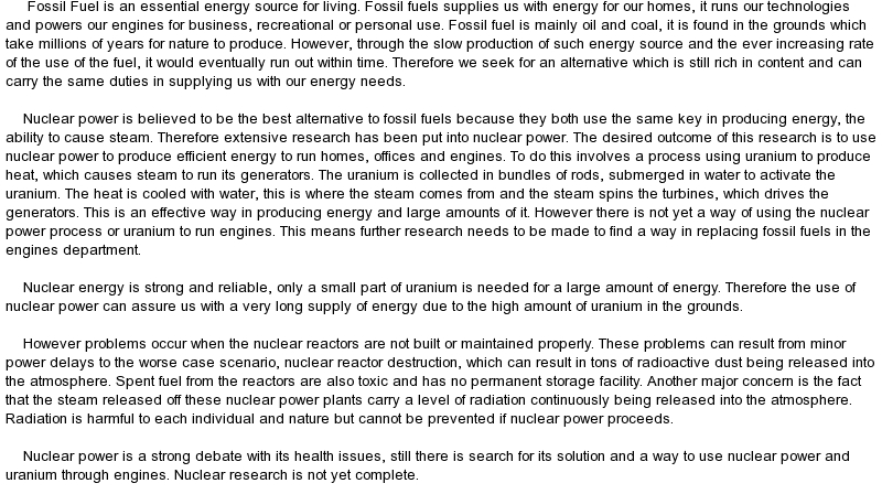 alternative energy vs fossil fuels essay