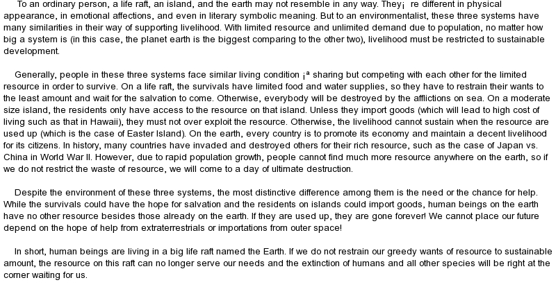 Essay on speak for the earth