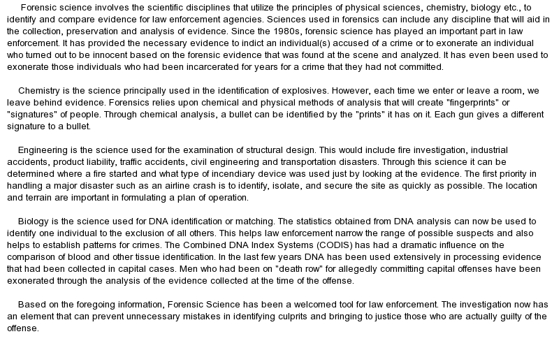 Forensic Science essay maker free
