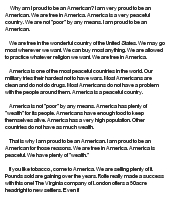 proud to be an american essay As an american, in addition to being a texan living abroad, it's easy to be critical of my homeland, particularly when there are so many sympathetic ears in japan, with the plethora of thin people around, i liked to complain about my countrymen being so fat, the kids more and more likely to develop diabetes.