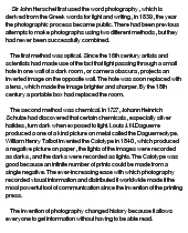 essay on the history of photography Photography essays - history of photography - when you look at a photograph from your favorite photographer what do you see does it remind you of your.