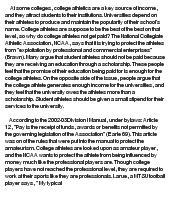 why college athletes should not get paid essay