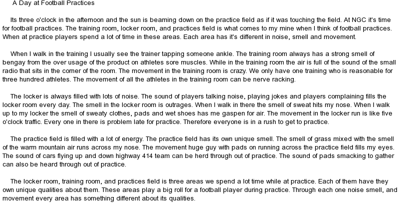 essay football Football essays are the best topics given to students students love playing football football is a game that students play in groups writing an essay requires some techniques and rules, these rules and regularities differ upon the type of essay written and the topic that is also subject for the essay.