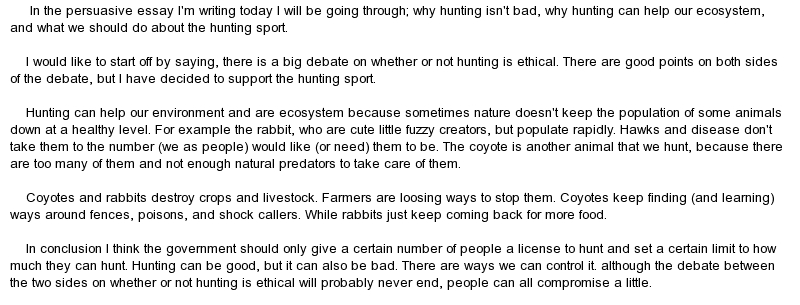 Persuasive essay on hunting