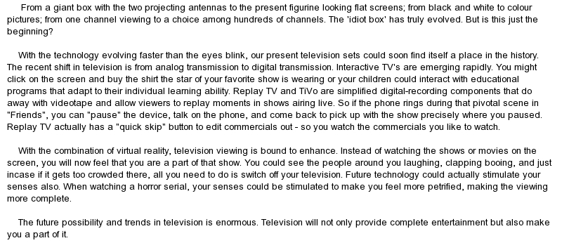 essay about television for kids This short essay on television contains introduction, brief history of television in india, its uses, and a conclusion television is one of the most important.