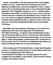 adoption of information and communication technology essay Information and communication technology is a marvelous the information and communication technology education essay on traditional and ict integrated teaching methods concluded that it is the change in the teaching method and not the adoption of technology that results in a.