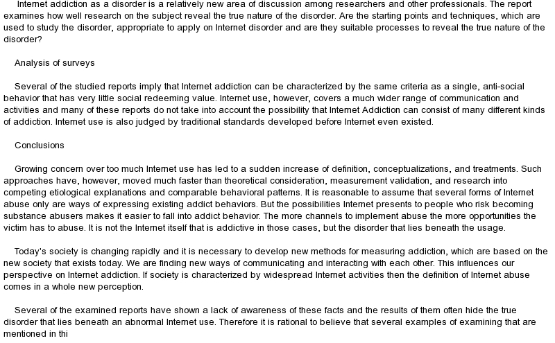 an essay about addiction Writing sample of essay on a given topic addiction to social networking sites.