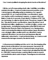 dropping atomic bomb on japan essay Christian davis english 3 search  dropped an atomic bomb on hiroshima, japan  justified in dropping the atomic bomb on hiroshima due to the unwarned.