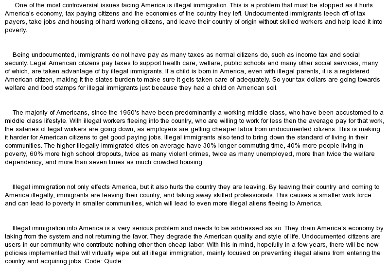 Essay On Illegal Immigration