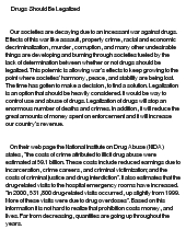 drug legalization essay Free essay on legalization of drugs available totally free at echeatcom, the largest free essay community.
