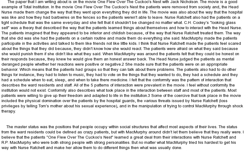 "one flew over the cuckoo`s nest essay Essay on setting in one flew over the cuckoos nest 669 words 3 pages ken kesey's ""one flew over the cuckoo's nest"" is a unique fiction novel about oppression and rebellion in an american."