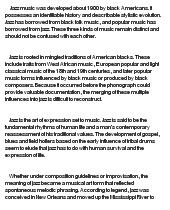 Origins of jazz essay