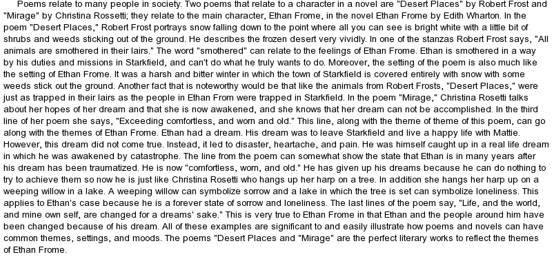 Ethan frome critical analysis essay