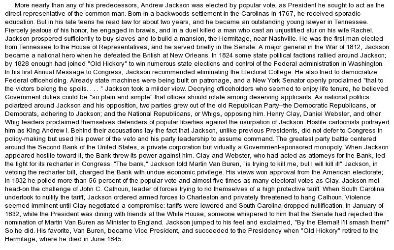 Andrew Jackson Essay Thesis