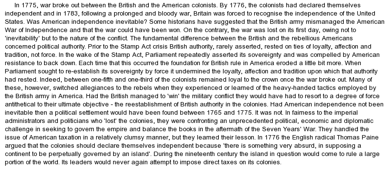 american revolution essay prompts Ib history examination review the best essays to these prompts usually note the complexity of any connection between one thing and what similarities and differences do you find in the causes of the american revolution (1776) and the latin american wars of independence (1810 and after.