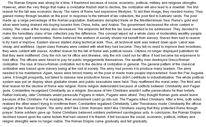 dbq 2 fall of the western roman empire essay Fall of the western roman empire – dbq in the third century ad rome encountered many problems in addition to facing internal (inside) problems, the invasion by germanic tribes seemed to  documents similar to fall of rome dbq dbq women in the middle ages uploaded by brian roberts documents of dbq uploaded by kylie van hoesen.