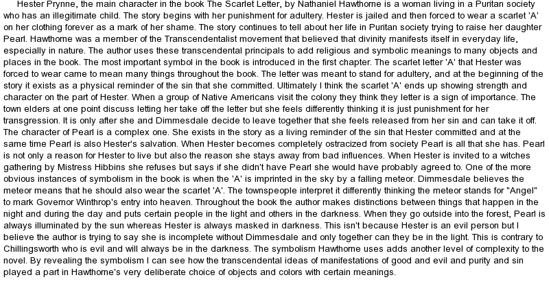Essay on symbolism in the scarlet letter