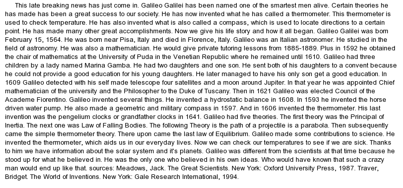 essays on galileo galilei The first confrontation the dialogue of the two world systems the trial of  galileo the final years questions for study review test further reading.