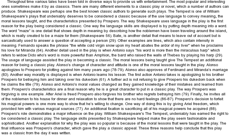 essay on tempest shakespeare