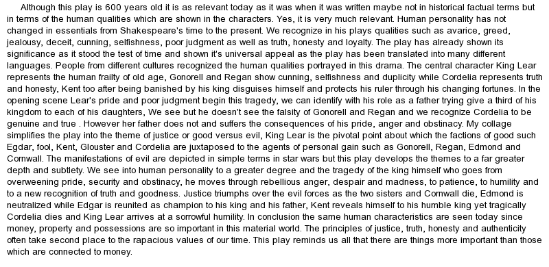 For King Lear Critical Essay