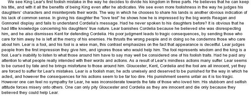 thesis king lear