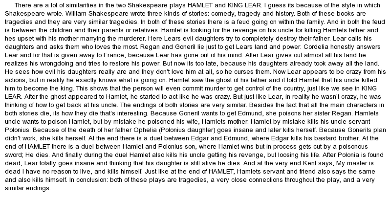 king lear essay on madness In shakespeare's play king lear, shakespeare introduces many themes the most important theme shown in king lear is the theme of madness during the course of this play madness is shown in the tragic hero, king lear.