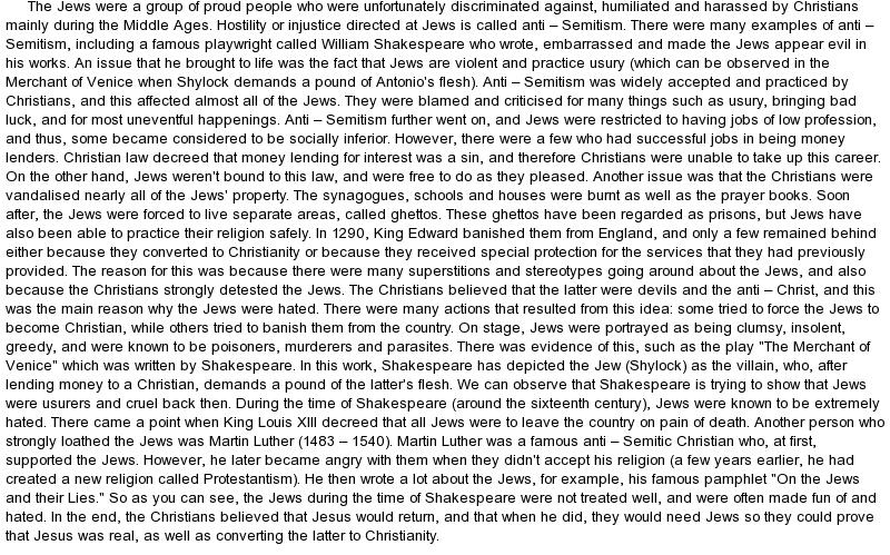 Shakespeare anti semitic essay