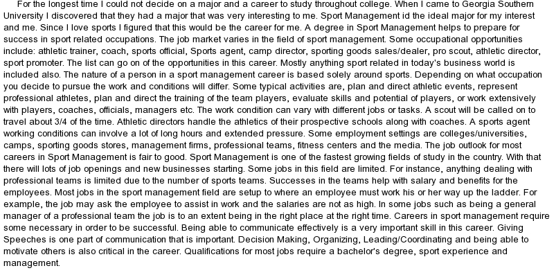 sport management application essay Statement of purpose for sports management essays and research papers statement of purpose for sports management statement of purpose the statement of purpose (often called letter of intent or application essay by various educational institutions.