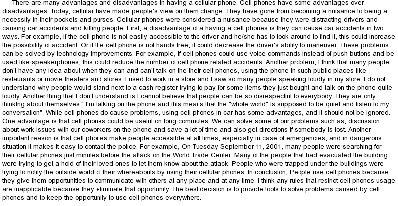 cell phones in school argument essay