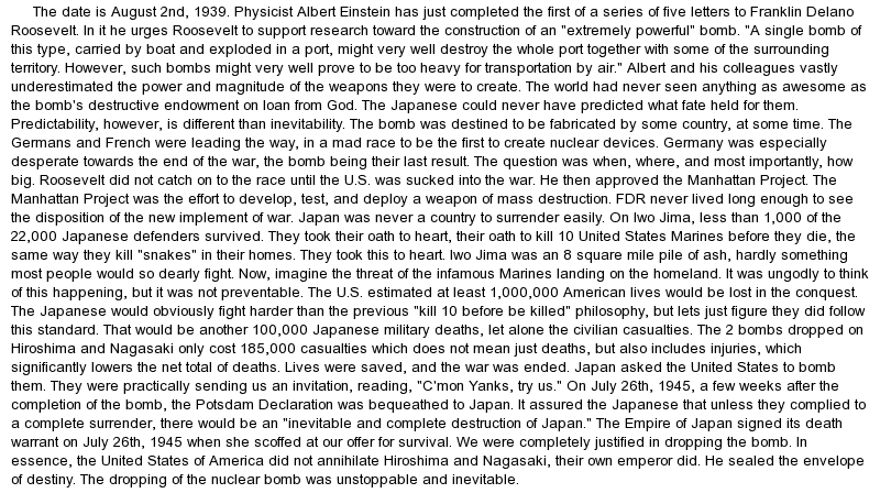 Atom bomb essay