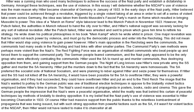 nazi revison essay Ocr history revision notes notes on unit f962 option b the essay format of the answers how and why did the nazi party come to power in 1933.