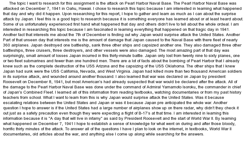 attack in pearl harbor essay Pearl harbour attack is one of the most sad pages of the american history the following article helps to come up with interesting topics on this issue.