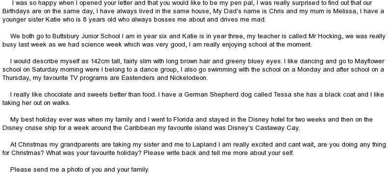 First pen pal letter example