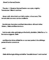 Essay on streetcar named desire