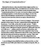 """the allegory of young goodman essay """"young goodman brown"""" functions as an allegory of the fall of man, from which hawthorne draws to illustrate what he sees as the inherent fallibility and hypocrisy."""