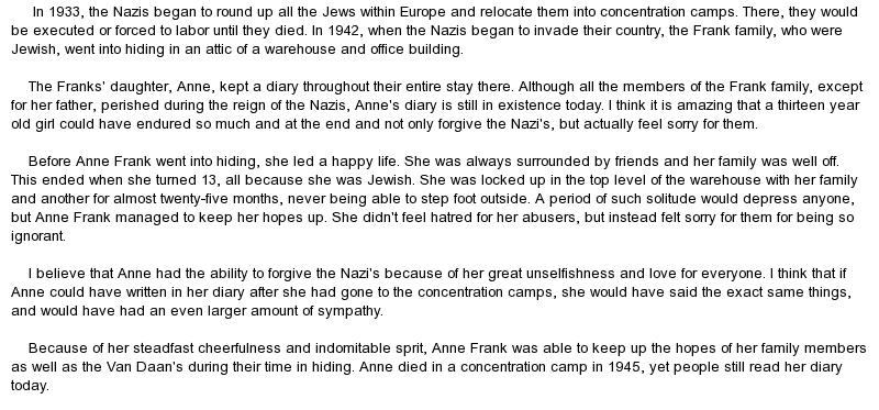 Book report anne frank