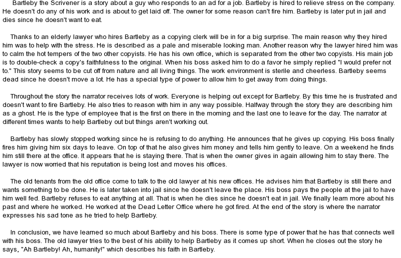 essay on bartleby the scrivener Symbolism in bartleby, the scrivener 3 pages 722 words november 2014 saved essays save your essays here so you can locate them quickly.