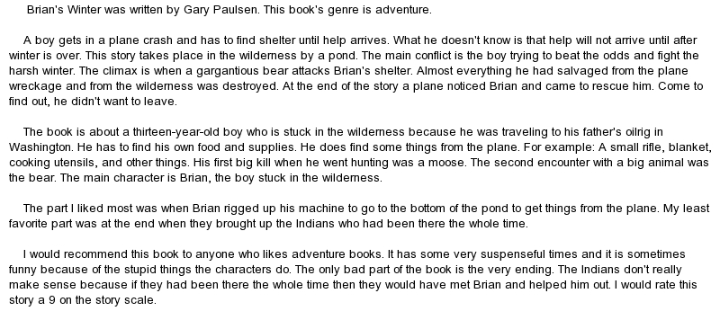 an analysis of the book brians winter Listen to brian's winter audiobook by gary paulsen, narrated by richard thomas   written by: gary paulsen narrated by: richard thomas series: hatchet,  book 3 length: 3 hrs and 11 mins unabridged audiobook  publisher's  summary.